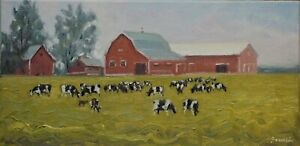 Sean Wu original oil painting 10x20 on stretched canvas dairy farm $79.00