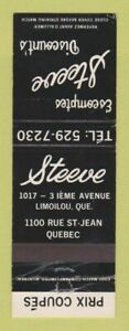 Matchbook Cover Steeve Discount#x27;s Limoilou QC Quebec
