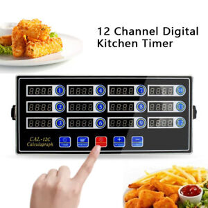 Kitchen 12 Channel Independent Digital Timer Count Down Reminding Clock Hook $46.00