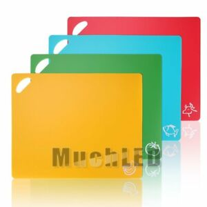 Plastic Cutting Board Set of 4 Chopping Boards Juice Groove Dishwasher Safe
