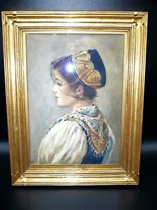 Antique Original Young Girl Portrait Watercolor Gold Wood Frame Signed Painting $400.00