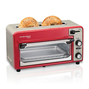 Toastation 2 Slice Countertop Toaster and Toaster Oven RED $49.99