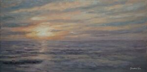 Sean Wu original oil painting 10x20 on stretched canvas sunrise $79.00