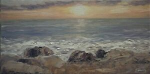 Sean Wu original oil painting 10x20 on stretched canvas sunrise $89.00