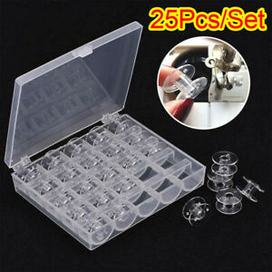 25Pcs Clear Bobbins For Sewing Machine Plastic Spool Brother Janome Singer Box $7.99