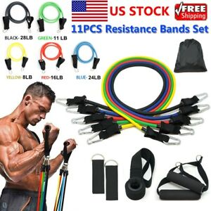 11PCS Resistance Bands Set Pull Rope Gym Home Fitness Workout Crossfit Yoga Tube $12.88