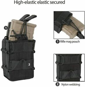 Tactical Molle Dual Pistol Magazine Pouch Gun Mag Holder Hunting 1000D Nylon