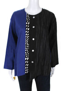 Christopher Calvin Womens Printed Button Down Top Blue Black Size Extra Small $29.01