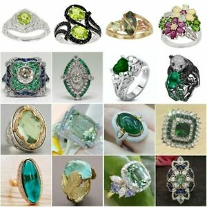 925 Silver Fashion Rings Women Emerald Wedding Engagement Ring Jewelry Gift 6 10 C $2.88