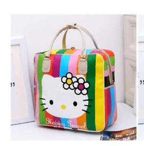 Women Girl#x27;s Hello Kitty stripe Handbag Travel Luggage Bag Large Capacity new
