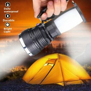 Solar Outdoor Fan Rechargeable Camping Lantern Light LED Hand Lamp Flashlight US