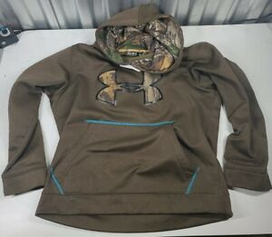 Mens Green And Camo Under Armour Hoodie Youth Medium Camo Logo And Hood $28.00