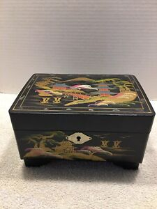 Vintage Japanese Box Appears Hand Painted With Inlay Possibly Mother Of Pearl $29.99
