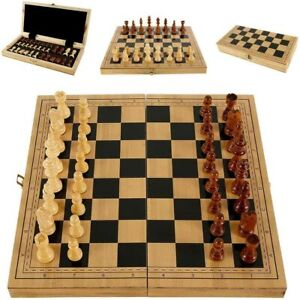 39 X 39 Vintage Wooden Chess Set Wood Board Hand Carved Crafted Folding Game US $27.26