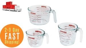 Glass Measuring Cup Set 3 Piece Microwave and Oven Safe Clear