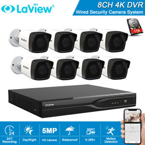 Laview 8CH 5MP DVR 8x HD Starlight Bullet Camera CCTV Security System W 1TB HDD
