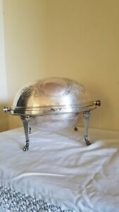 Antique Roll Top Silver Serving Dish