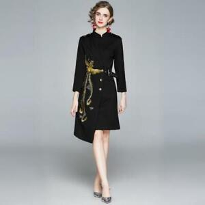 Womens Ethnic Style Stand Collar Irregular A Line Embroidered Dress Black Slim $44.70