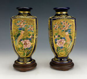 Antique Japanese Satsuma Pottery Pair Of Oriental Flower Panel Decorated Vases