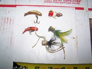 OLD FLY FISHING LURES POPPING BUGS FLAT FISH CORK BUGS {5}