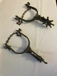 Antique Old West Cowboy Kids Ladies Spurs 8 Point Engraved Old Patina w Chain