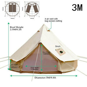 VEVOR Canvas Bell Tent Hunting Wall Tents 4 Season 3 5 People for Camping Hiking