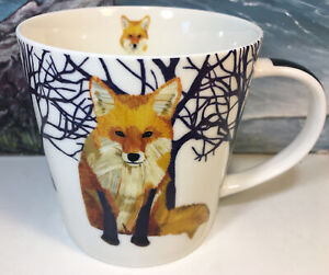 Winter Fox Coffee Mug 13.5oz Tea Cup Gift Two Can Art PPD Woodland Creatures $16.80