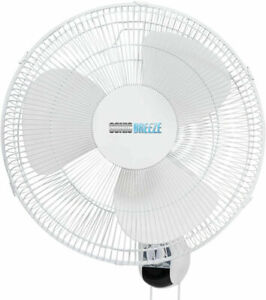 SONIC BREE 16 Wall Mount Fan Oscillating Fan W 80 Degree 3 Speed White
