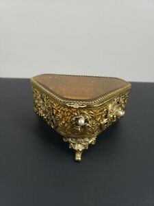 Old Vintage Gold Tone Amber Glass Jewelry Box Casket Ornate for a Vanity $75.00
