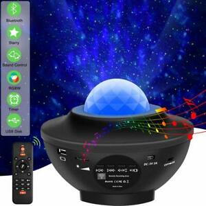 LED Starry Star Projector Light Galaxy Ocean Wave Bluetooth Music Lamp w Remote
