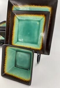 11 Pc Jade by Better Homes and Gardens Square Green Black Stoneware Plate Set $57.99