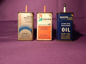 Vintage WHITE SINGER Sewing Machine Oil Can Advertising Display $24.99