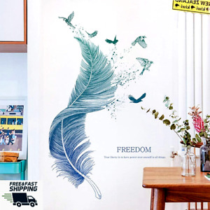 3D DIY WALL STICKER FEATHER BLUE DECAL HOME DECOR ART VINYL ROOM REMOVABLE MURAL