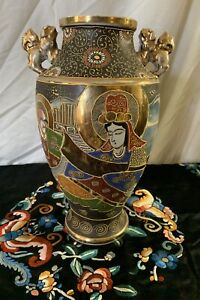 JAPANESE VASE SATSUMA MORIAGE PORCELAIN MEIJI 12 SIGNED Antique Gold Foo Dogs