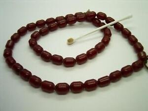 ANTIQUE BAKELITE CHERRY AMBER FATURAN BEAD NECKLACE FOR RESTRINGING BARREL SHAPE GBP 240.00