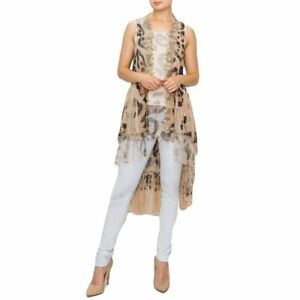 Women#x27;s Brown Leopard Print Lace Vest Asymmetrical Hem Fashion Clothing