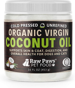 Raw Paws Organic Virgin Coconut Oil for Dogs amp; Cats 16 oz Supports Immune