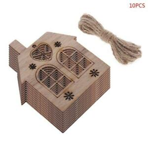 10pcs set Christmas House DIY Wooden Pendant Hanging Tree Ornament Home Decor