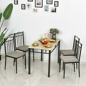 5 Piece Dining room Set Table 4 Padded Seat Chairs Home Kitchen Breakfast USA