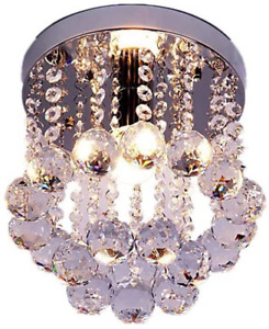Mini Modern Crystal Chandeliers Flush Mount Rain Drop Pendant Ceiling Light