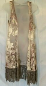 NWOT Origami by Vivien Sheer Floral Coverup Vest Tunic Small Medium
