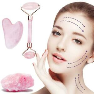 Rose Quartz Jade Roller amp; Gua Sha Face Body Therapy Massager.Stone Beauty