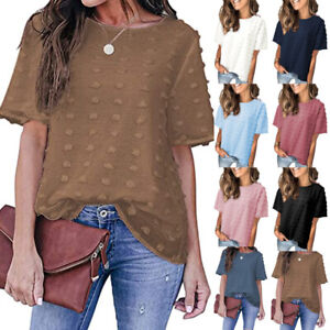 Summer Women Casual Tunic Short Sleeve T Shirt Loose Solid Crew Neck Blouse Tops