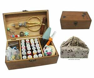 Sewing Kit Wooden Sewing Kit Box Basket with Compartment Portable Stitching $45.87