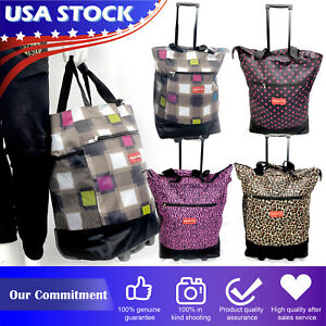 19quot; Rolling Wheeled Duffle Trolley Bag Travel Tote Carry On Suitcase Luggage