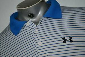 20284 a Mens Under Armour Golf Polo Shirt Size Large Blue Polyester $23.79