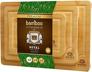 Bamboo Cutting Board Set with Juice Groove 3 Pieces Kitchen Chopping Board ...