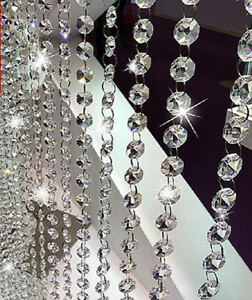 6.6FT CLEAR CRYSTAL GLASS CHANDELIER BEADED CHAIN WEDDING CHRISTMAS GARLAND 14MM $6.98