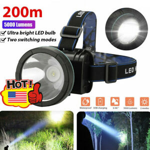 5000LM Super Bright LED Headlamp Rechargeable Headlight Torch for Hunting $13.95