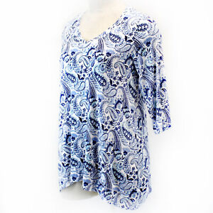 Jones NY Plus Size Blue Floral Parsley V Neck Top Tunic 3X Spring Summer $29.99